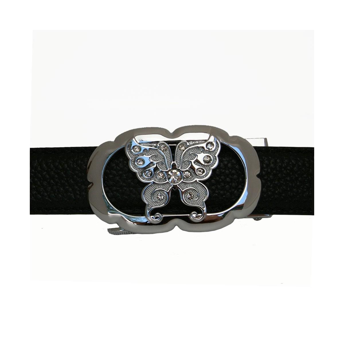 Boucle motif Papillon argenté pour ceinture Femme à fermeture automatique