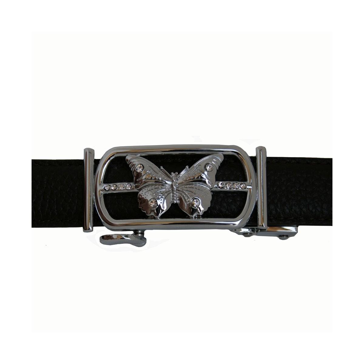 Boucle Papillon argenté pour ceinture Femme Lady à fermeture automatique