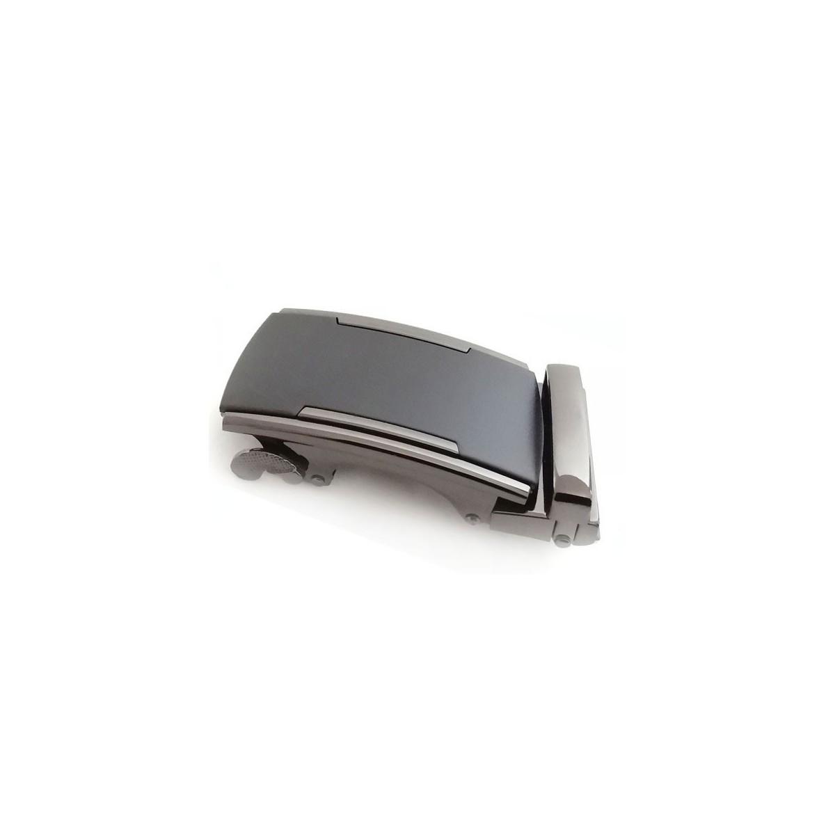 Boucle de ceinture homme acier avec plaque grise mat