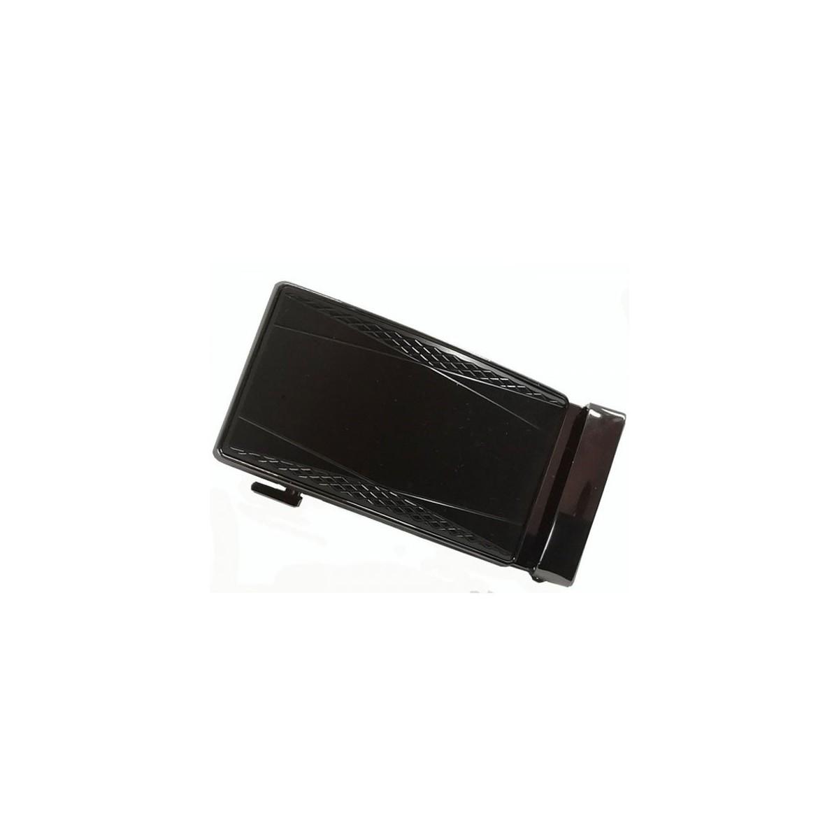 Boucle de ceinture bronze sur fond noir à motifs géométriques