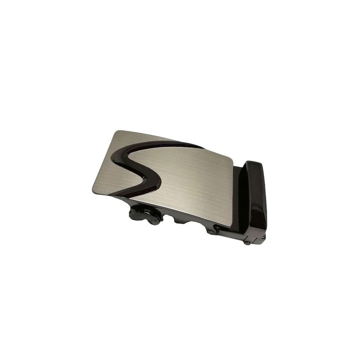 Boucle de ceinture homme acier brossé zigzag noir