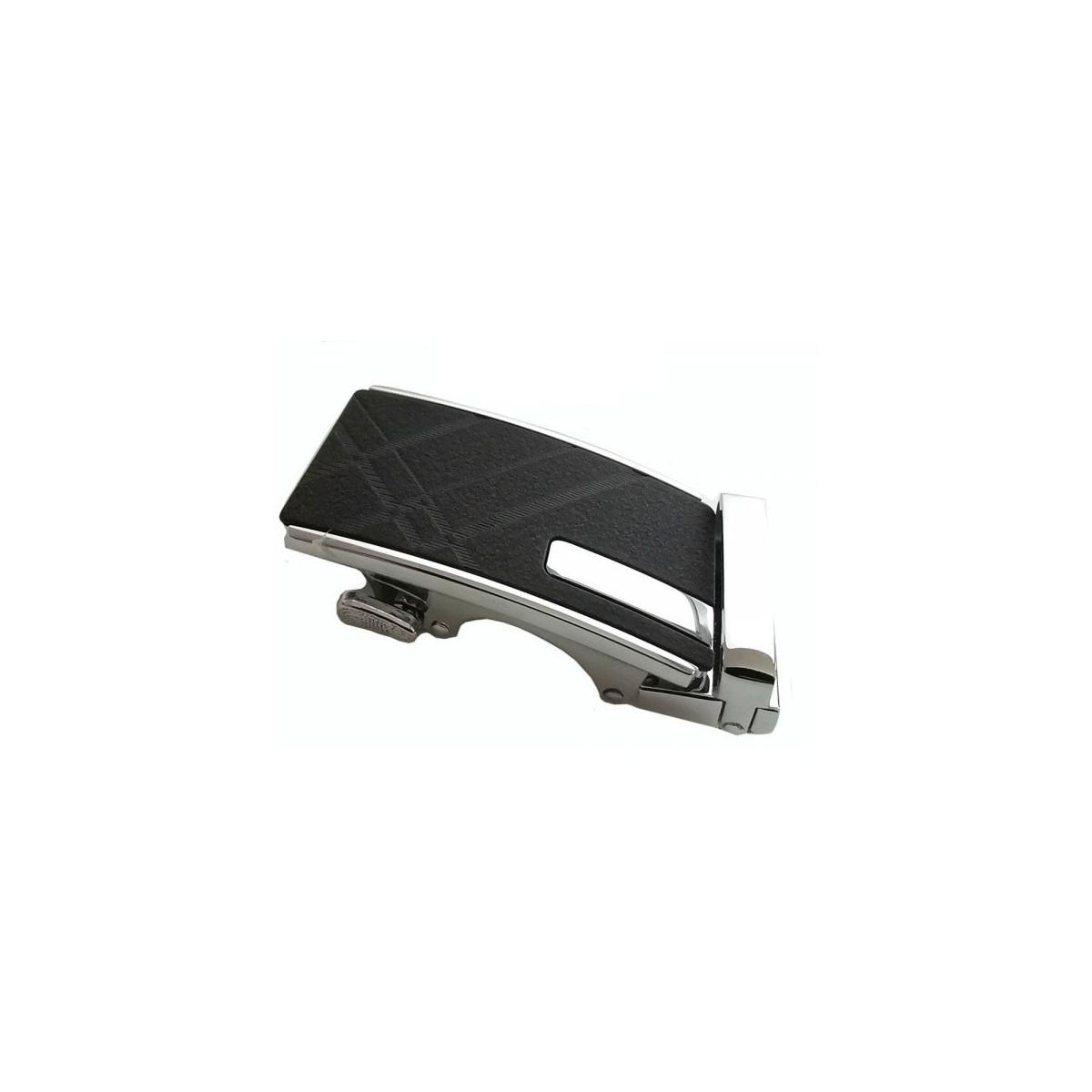 Boucle de ceinture homme argentée avec plaque noire mat lignée