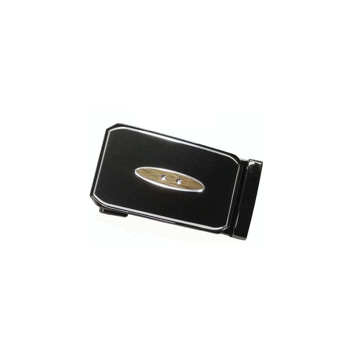 Boucle de ceinture bronze fond marron mat à motif central doré