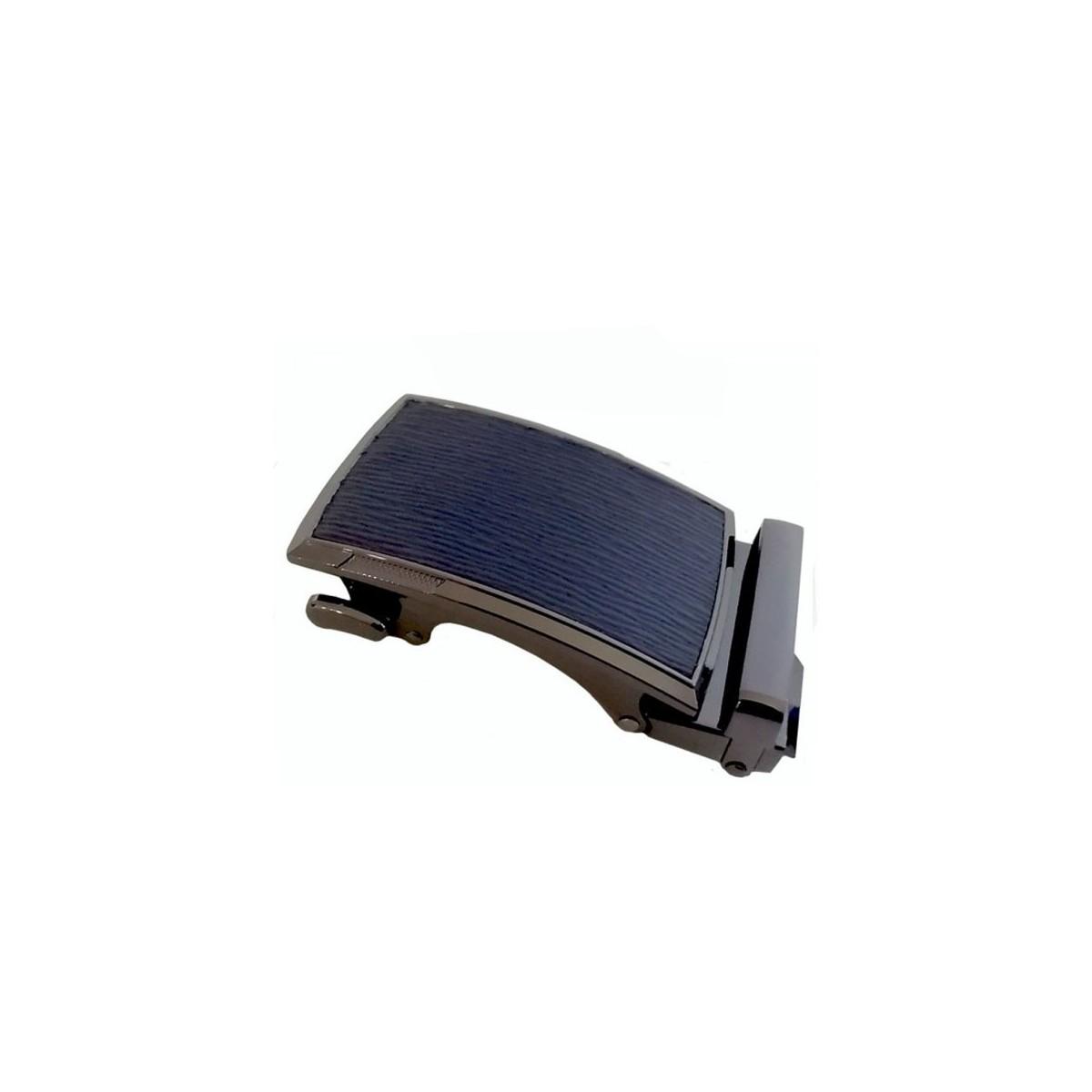Boucle de ceinture motif bois bleu marine cadre bronze