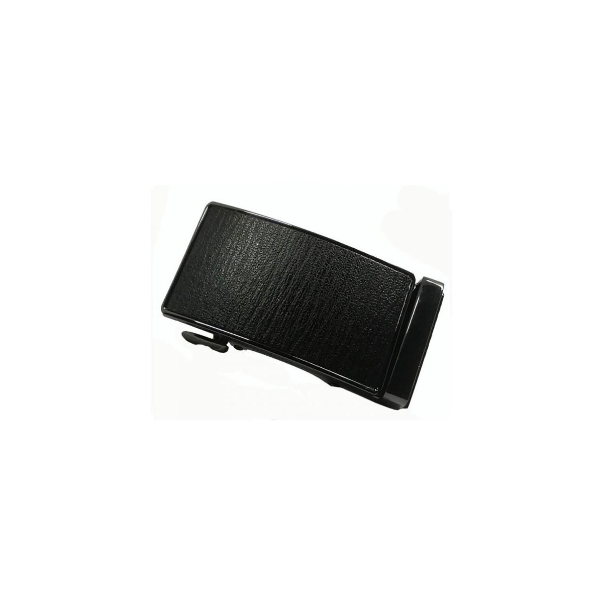 Boucle de ceinture motif cuir bûche noir cadre bronze