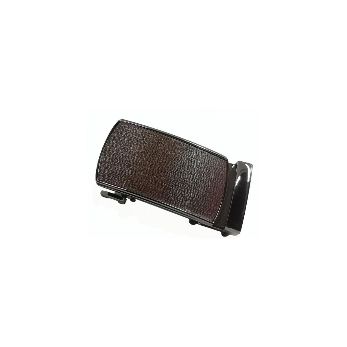 Boucle de ceinture motif façon tissus marron cadre bronze