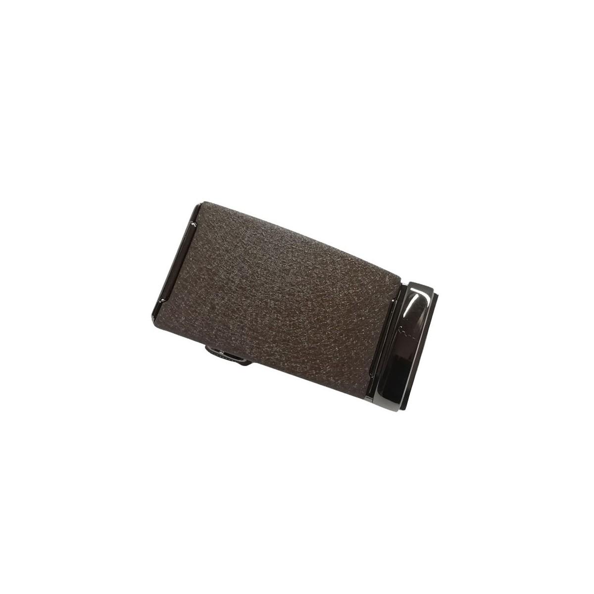 Boucle de ceinture homme centre marron mat granit avec cadre bronze