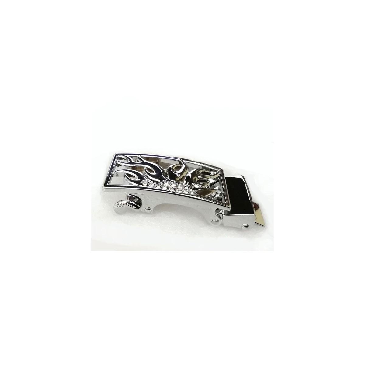 Boucle Flamme argenté pour ceinture Femme Lady à fermeture automatique
