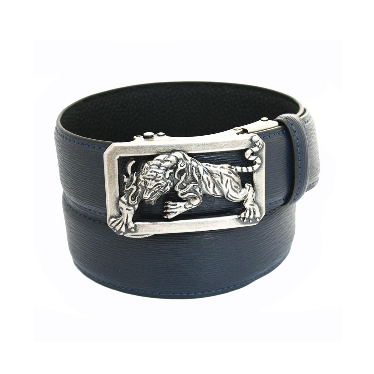 Ceinture noire en cuir homme lanière et boucle tigre