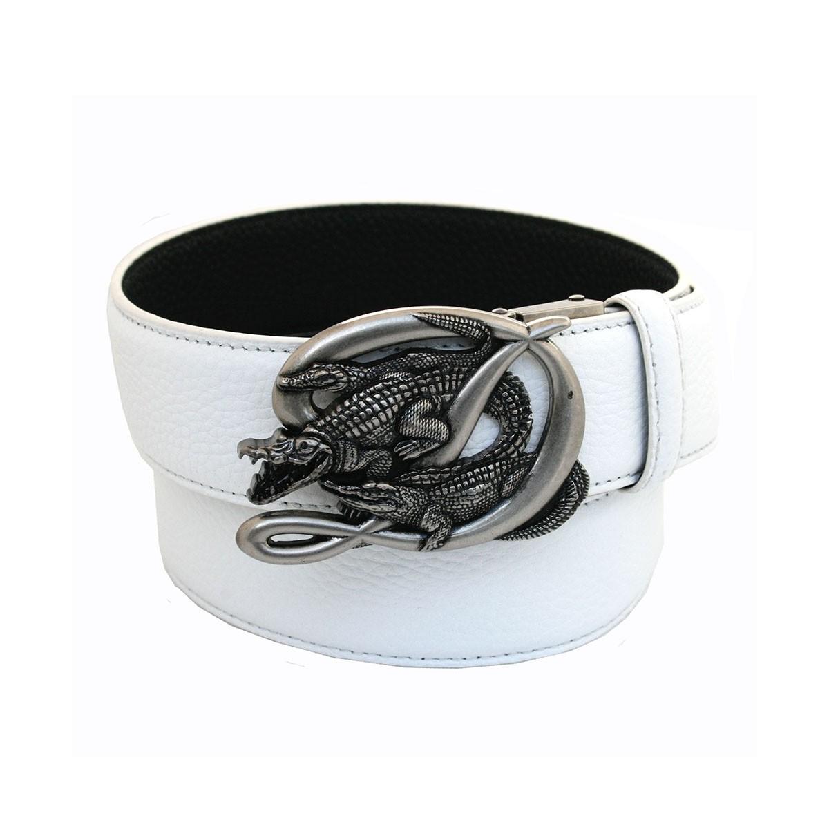 Ceinture noire en cuir homme lanière et boucle scorpion