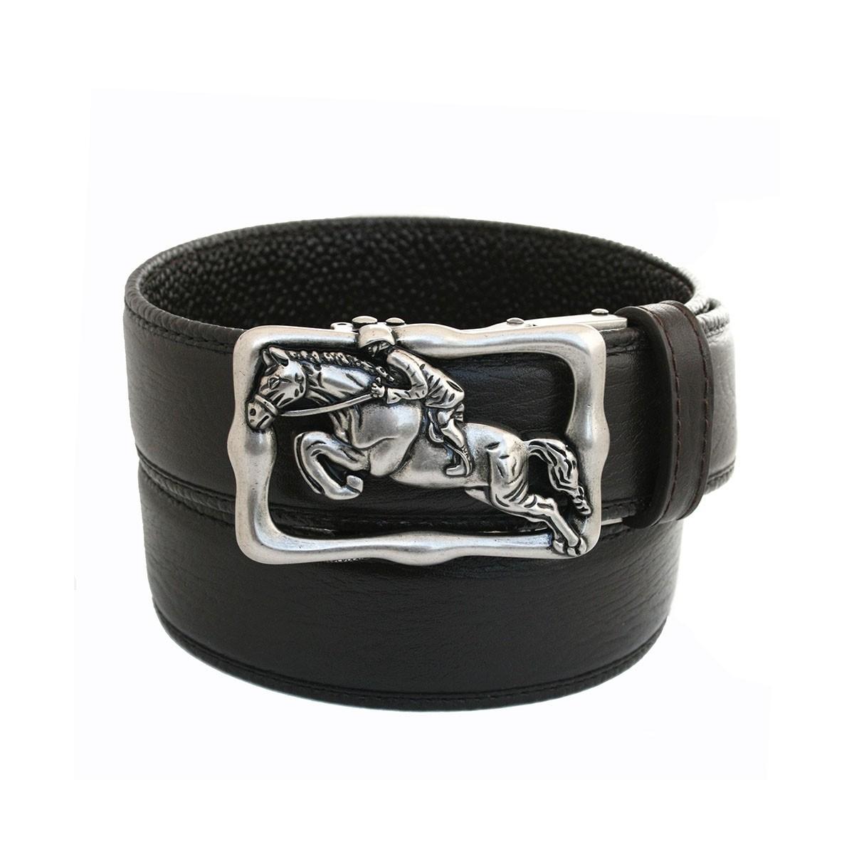 Ceinture automatique en cuir homme lanière et boucle biker cheval et cavalier