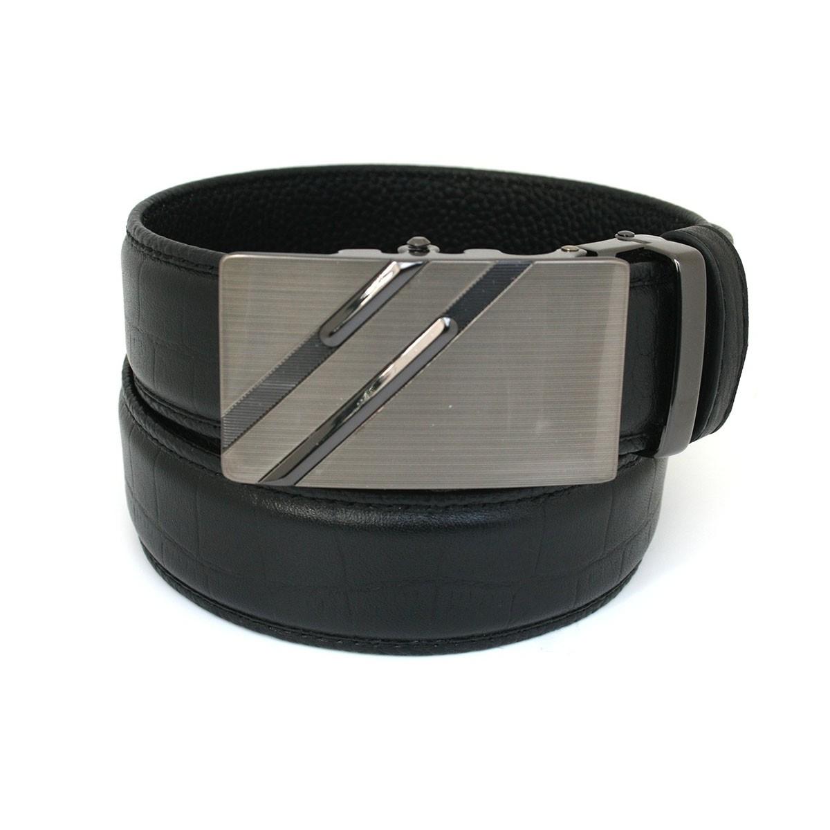 Ceinture automatique en cuir homme lanière prestige b6 Croco noir et boucle 503
