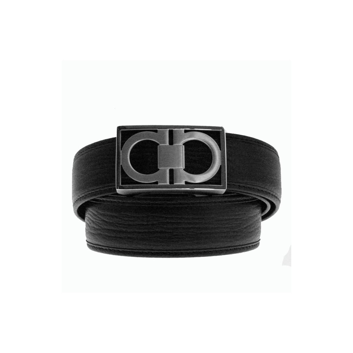 Ceinture homme Luxury lanière cuir branche B6 noir et boucle à serrage automatique 802