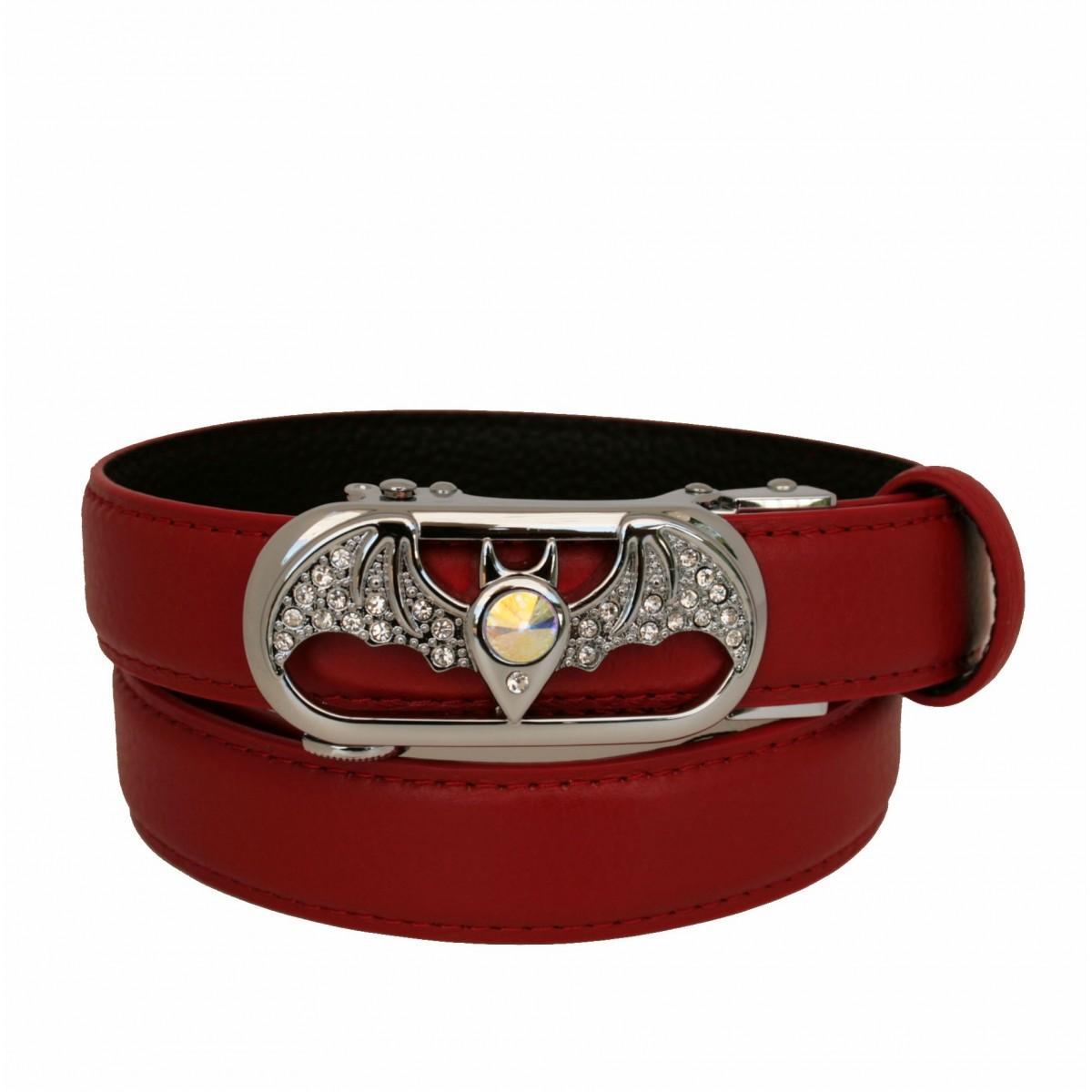ceinture femme en cuir pleine fleur rouge avec boucle automatique