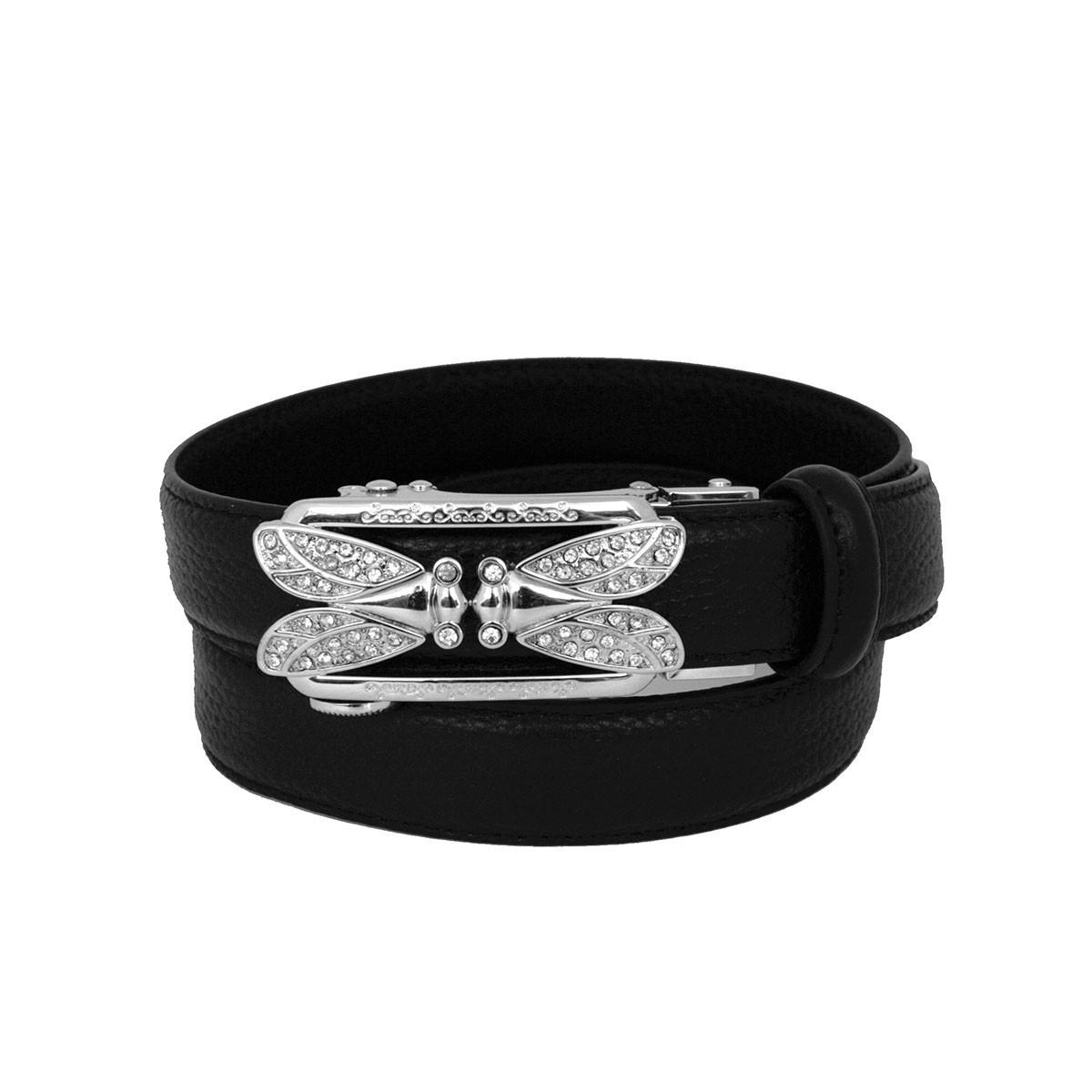 ceinture femme en cuir pleine fleur noire avec boucle automatique