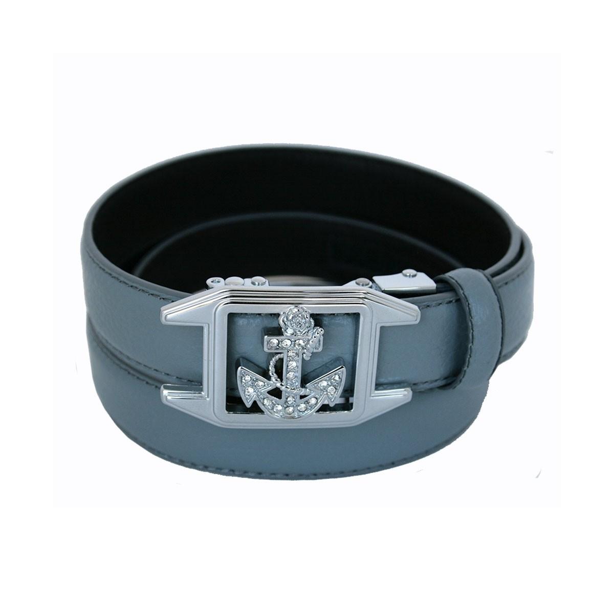 ceinture femme en cuir pleine fleur grise avec boucle automatique