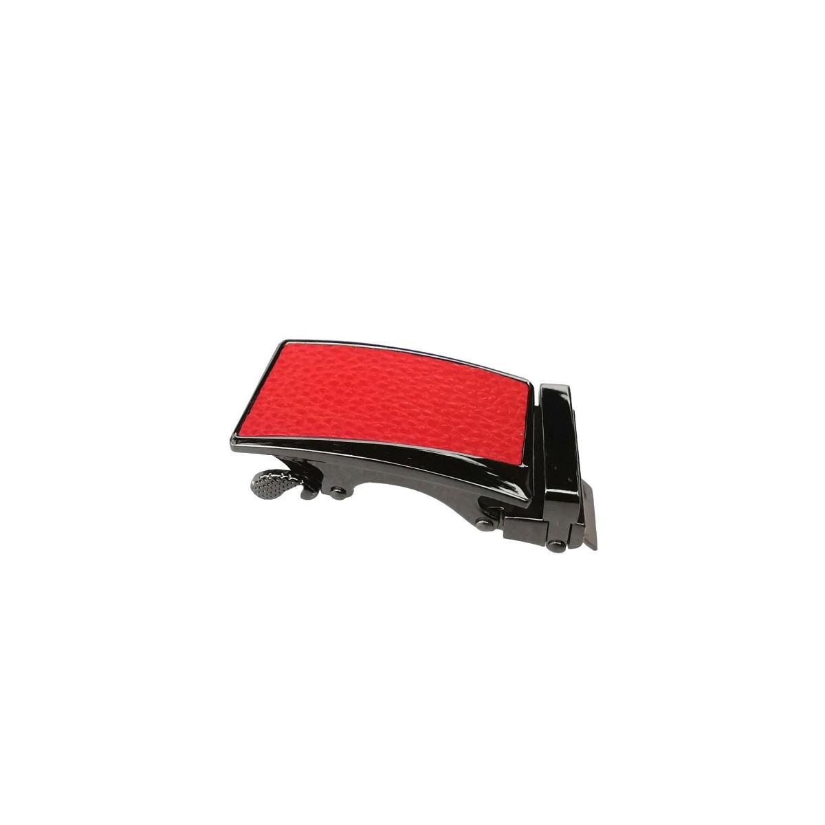 Boucle de ceinture Femme à fermeture automatique plaque grain cuir rouge