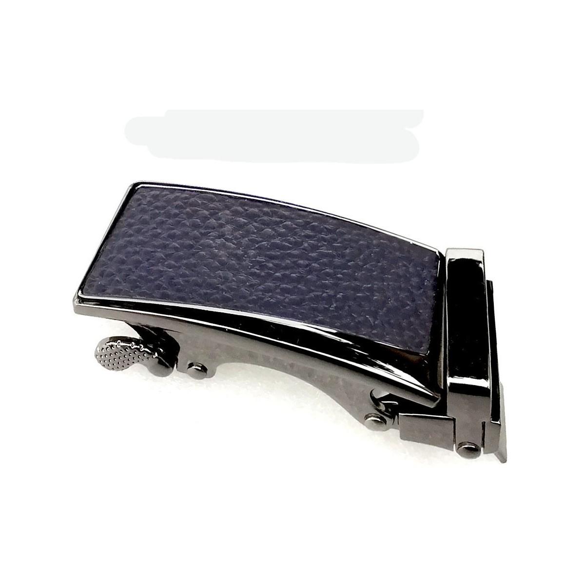 Boucle de ceinture Femme à fermeture automatique plaque grain cuir bleu marine