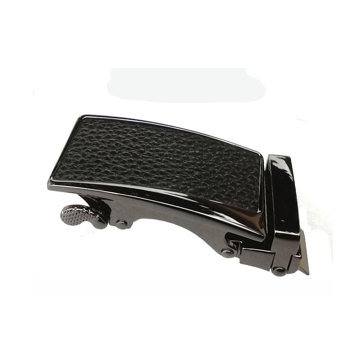 Boucle de ceinture Femme à fermeture automatique plaque grain cuir noir