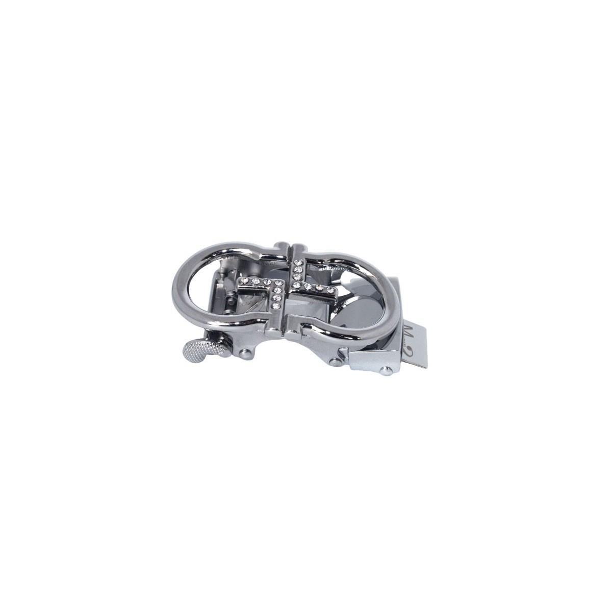 Boucle double G argentés pour ceinture Femme Lady à fermeture automatique