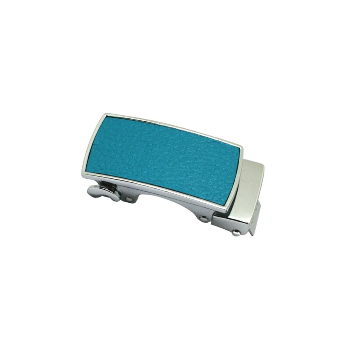 Boucle de ceinture Femme argentée à fermeture automatique plaque grain cuir bleu turquoise                      ouge