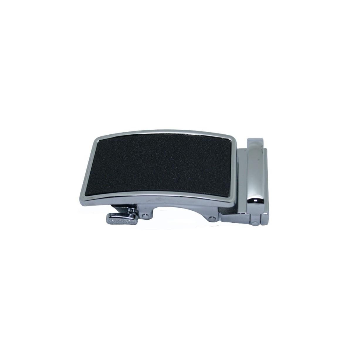 Boucle de ceinture homme centre noir mat granit avec cadre couleur argentée