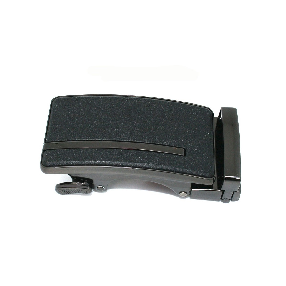 Boucle de ceinture homme noire mat granité avec ligne acier