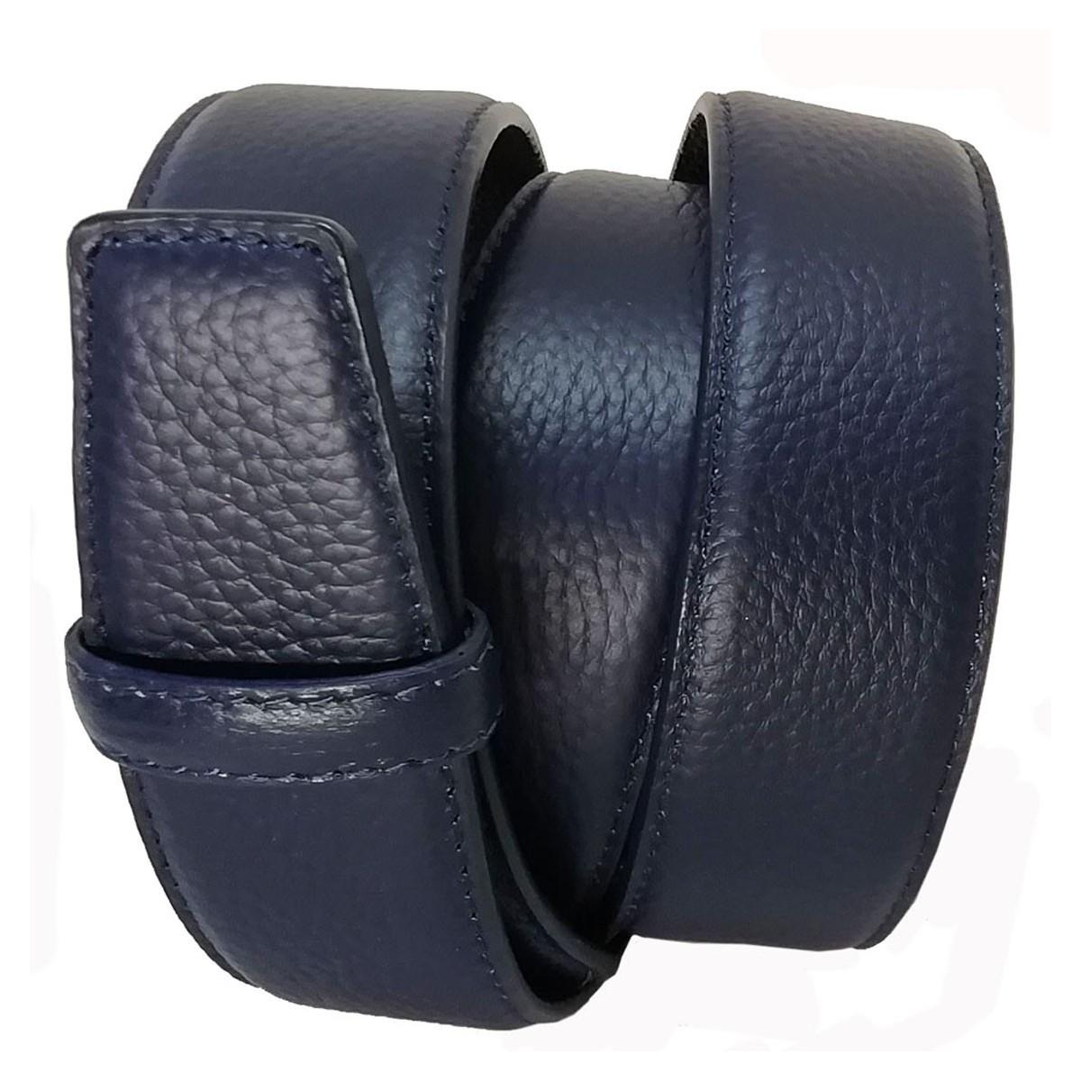 Lanière cuir pleine fleur finition Les Classiques Bleue pour ceinture à boucle automatique