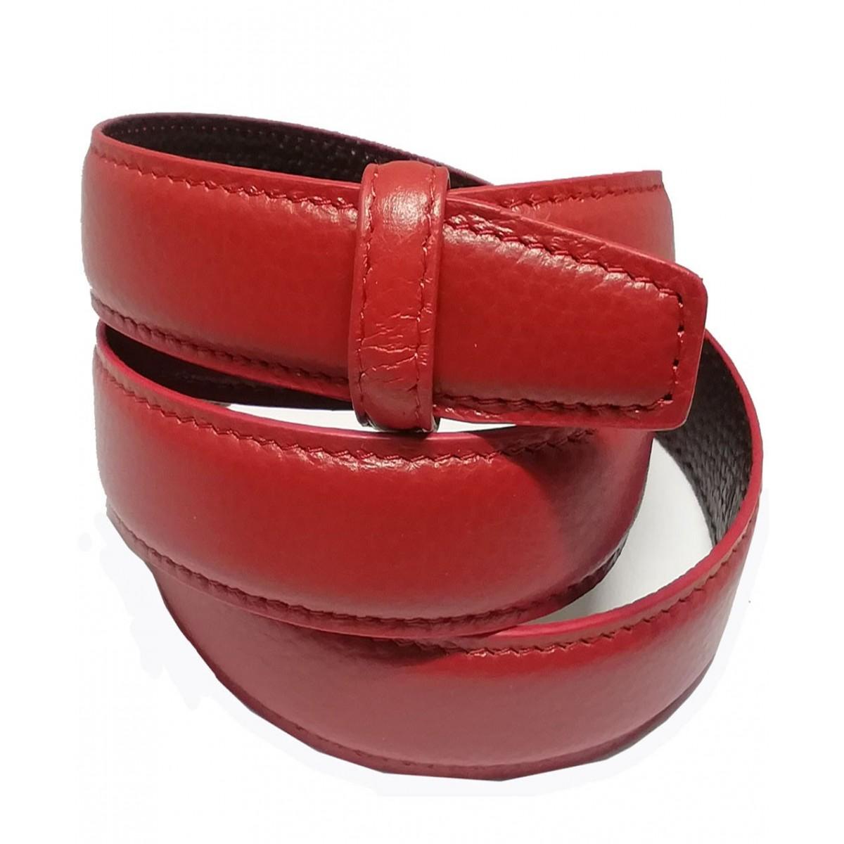 Lanière à crémaillère cuir Lady  rouge finition Luxe pour ceinture à boucle automatique