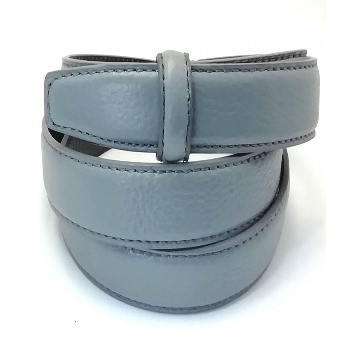 Lanière à crémaillère cuir Lady pleine fleur grise finition Luxe pour ceinture à boucle automatique