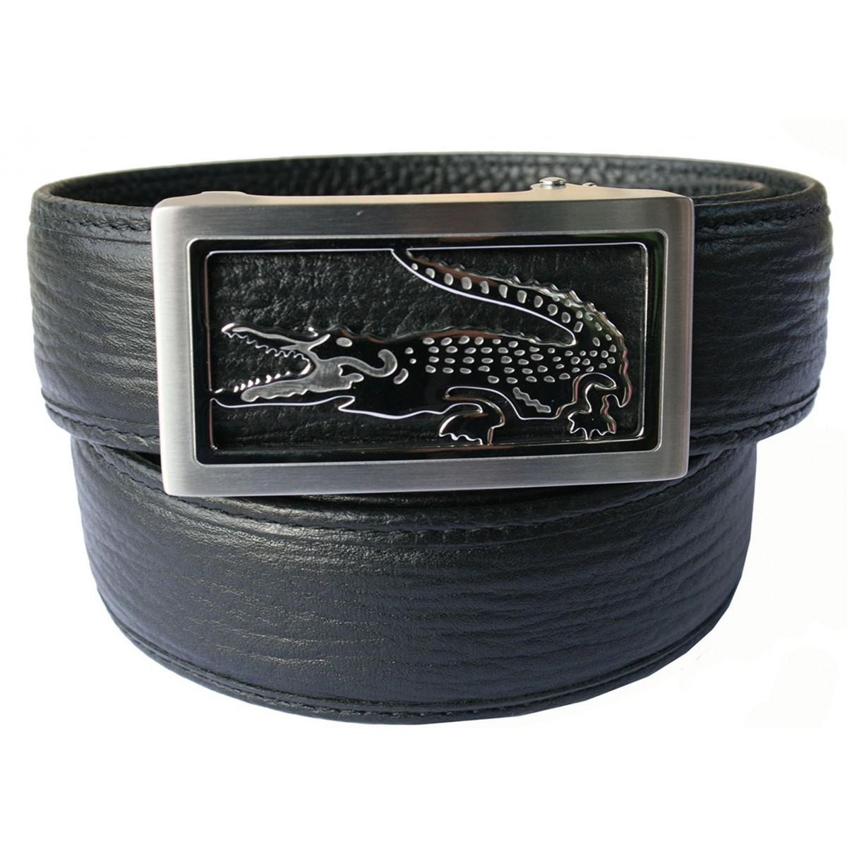 Ceinture homme Luxury lanière cuir B6 noir et boucle à serrage automatique 800