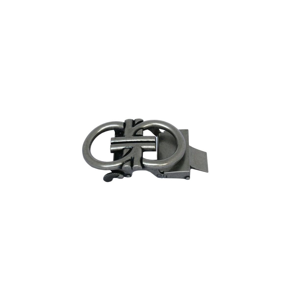 Boucle de ceinture homme 2 G entrelacés ceinturon cadre acier