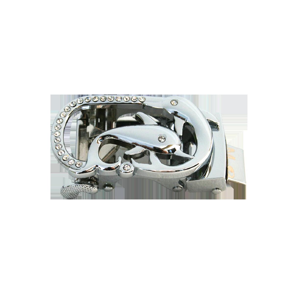 Boucle ancre marine argentée avec brillants pour ceinture Femme Lady à fermeture automatique