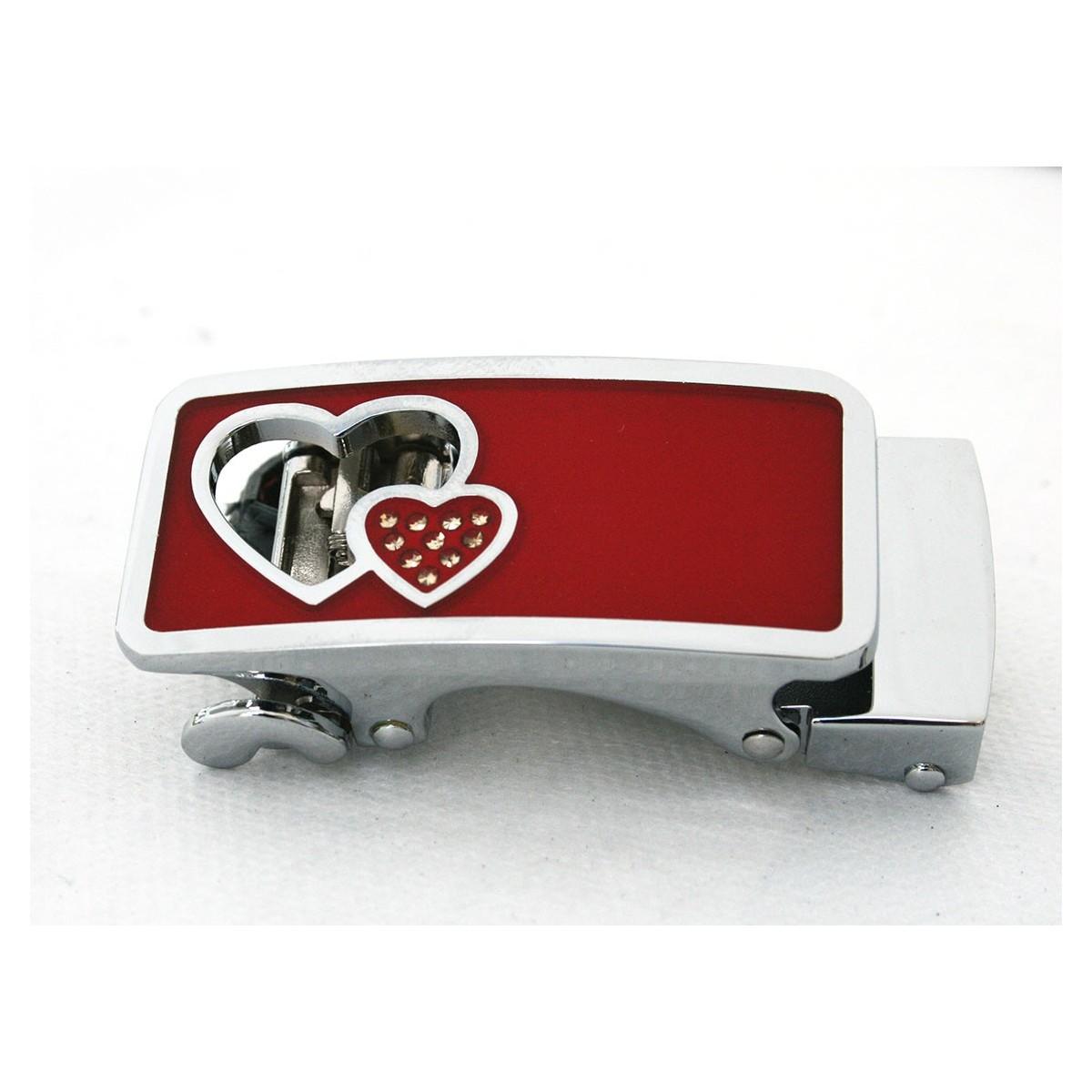 Boucle automatique femme double cœur avec fond rouge