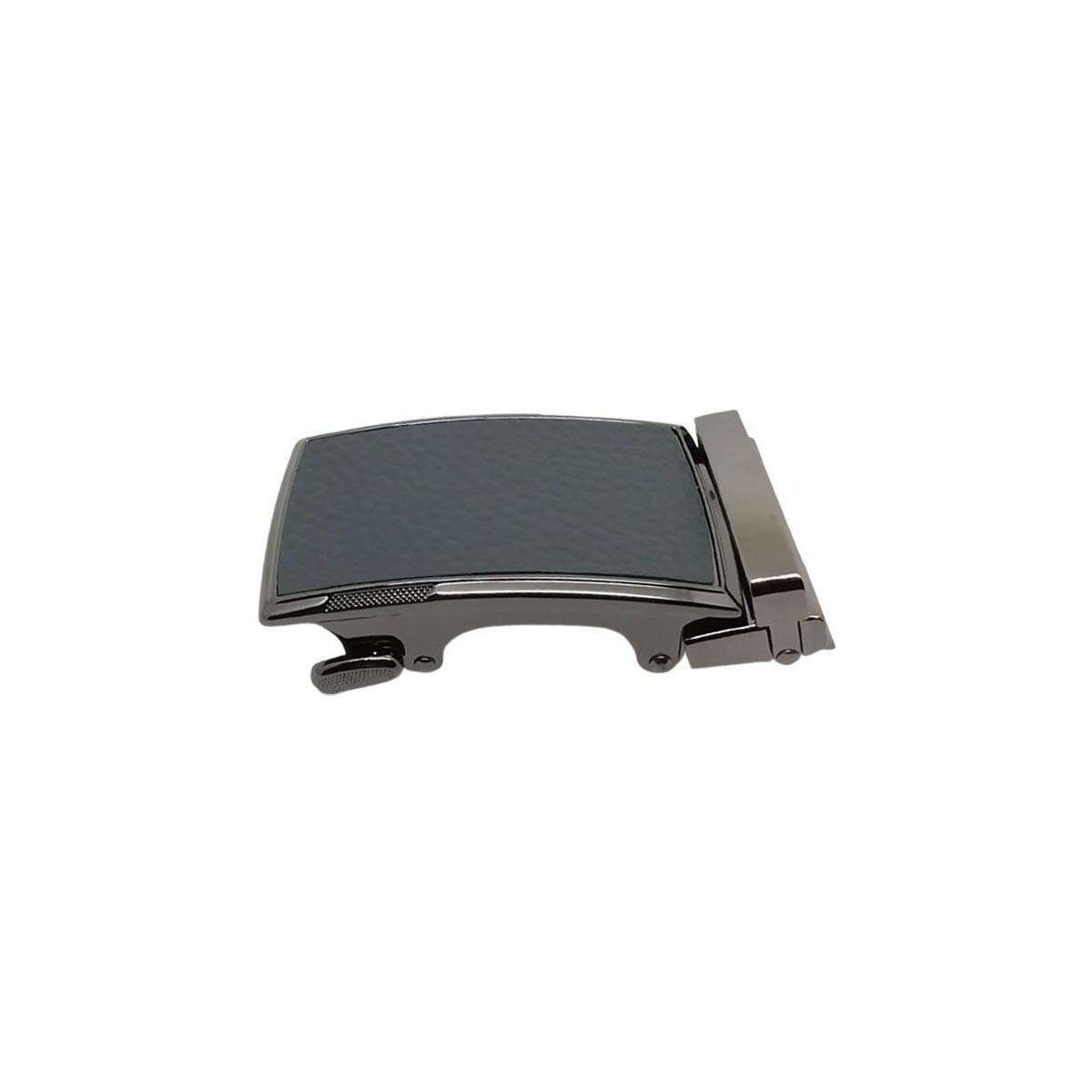 Boucle de ceinture grain cuir gris cadre noir brillant